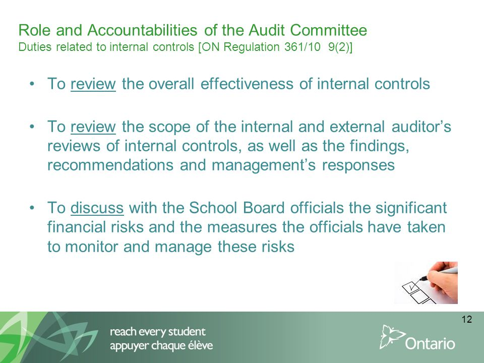 Role and Accountabilities of the Audit Committee Duties related to internal controls [ON Regulation 361/10 9(2)]